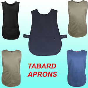 Tabard Tabbard Apron Pockets Work Wear Overall Catering Laundry Cleaning Unisex