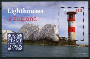 Nevis Lighthouses Stamps 2015 MNH Needles Lighthouse England Europhilex 1v S/S