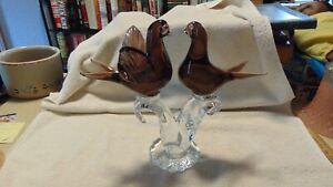 "ART GLASS. TWO DOVES AMBER BIRDS. 10  1/2"". TALL"