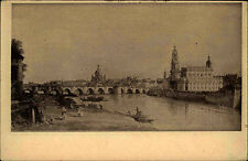 Dresden ~1920 Ansicht nach Canaletto: Teilansicht mit Elbe Brücke Uferpartie