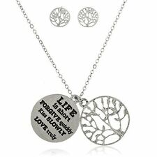 Silvertone Tree of Life with Inspirational Quote Pendant Necklace & Earrings Set