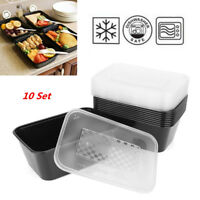 10X 1000ml Microwave Plastic Meal Prep Container Lunch Box Food Storage Takeaway