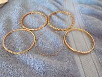 5 Gold Colored Bangle Bracelets