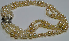 14K 585er Necklace Gold necklace Pearl Bead chain White Gold 40 cm 3 reihig