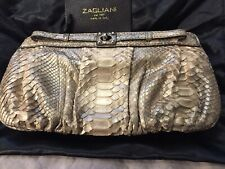 Zagliani Gold Python Skin Clutch Bag