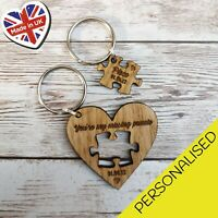 Couples Puzzle Heart Keyring Husband Wife Girlfriend Boyfriend Valentines Gift