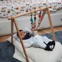 INGODI Wooden Mobile Baby Play Gym Toys Activity Set, Wood Play Gym for Babies