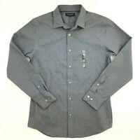 Banana Republic Slim Fit Shirt Men M Gray Triangles Long Sleeve Non-Iron Casual