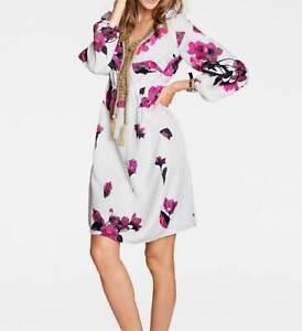 Kleid Allover Blüten Druck Kleid Heine weiß pink kurz Sommer Gr 38