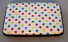 Polka Dots Aluminum Wallet New Hard Metal Case Snaps Close Pink Blue White Blue
