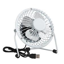 Mini USB Tilting Desktop Cooling Fan with Metal Shell & Aluminium Blades - White