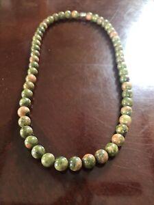 "Vintage Jasper Beaded Necklace 18"""