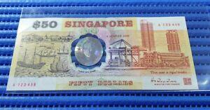 123456 1990 Singapore 25th Anniversary $50 Commemorative Note A 123456