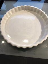 "Vintage 8.75"" White Stoneware Fluted Pie/Flan Dish"