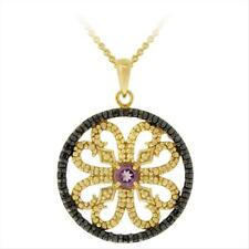 18K Gold over Silver Amethyst & Black Diamond Circle Necklace