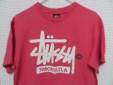 vtg Stussy T Shirt pink 1980 NYLTLA skate street wear Med copyright hip hop rare