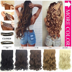 Full Head Thick Long Wavy Curly Hairpiece Synthetic Clip In Hair Extensions New