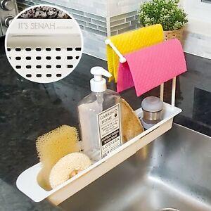 Telescopic Sink Storage Rack Dishcloths Sponge Holder With Kitchen Towel Hangers