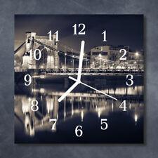 Glass Wall Clock Kitchen Clocks 30x30 cm silent Bridge Black
