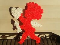 Vintage Melted Plastic Popcorn Cupid Angel Valentines Day Decoration 12""