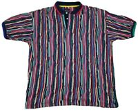 Vtg Cotton Traders 90s Coogi Style S/S 3D Polo Shirt XL Biggie Cosby Hip Hop