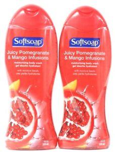 2 Softsoap Juicy Pomegranate Mango Infusions Moisturizing Beads Body Wash 18 oz