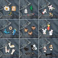 Cartoon Animal Brooch 3Pcs Jackets Enamel Pin Men Women Collar Badge Denim Pins