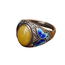 Nice Cloisonne Enamel Oval Honey Amber Silver S925 Retro Open size Ring AS96