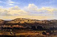 Oil painting eduard hildebrandt - bethlehem excellent landscape hand painted art