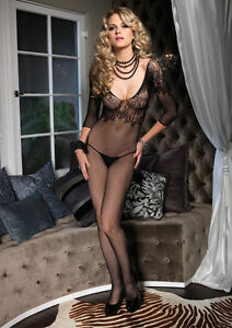 Seamless Fishnet Quarter Sleeve Bodystocking with Floral Lace Bodice