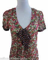 New Womens Green Black Pink Red NEXT Blouse Top Size 12 8 RRP £25