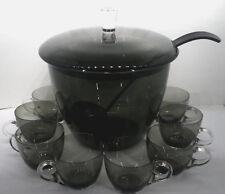 10tlg Bowle Service Kristallglas Rauchglas anthrazit 8Pers 50/60er Jahre