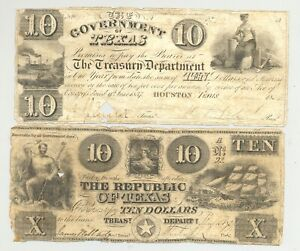 Cut Cancelled Republic of Texas issued $10 banknotes issued by Mirabeau Lamar