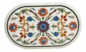 Oval Shape Marble Coffee Table Top Hand Made Floral Pattern Inlay Dining Table