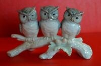 Otagiri Japan Porcelain Figurine Three Owls on branch