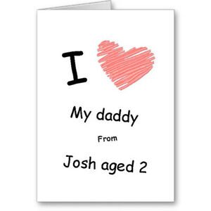 """Unique Generic Typographic """"I love my daddy"""" Father's Day Card Gift"""