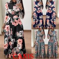 Plus Size Ladies Long Sleeve Floral Sundress Boho Women Party Bodycon Maxi Dress