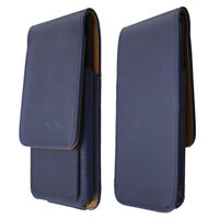 caseroxx Flap Pouch for Sharp Aquos R in blue made of real leather
