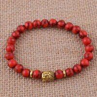 8mm Red Turquoise  Bracelet 7.5inches Healing yoga cuff Meditation Chakas mala