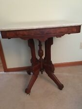 Captivating Antique Victorian Marble Top Table 28u201d Rectangle  Buyer Must Pick Up