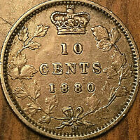 1880H CANADA SILVER 10 CENTS DIME COIN - Obverse #2 - Excellent example!