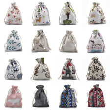 50pcs Cotton Packing Pouches Drawstring Bags Storage Sacks for Jewelry 14x10cm