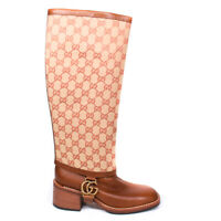 Gucci - Lola Knee High Riding Boots - Brown GG Monogram Bootie - US 7.5 - 37.5