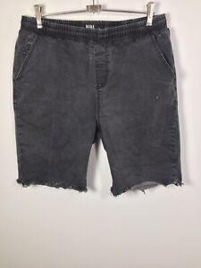 "Nana Judy The Vision Mens Dark Grey Fray Hem Jogger Shorts Sz 34 W32-34"" Cotton"