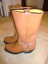 Brown Leather Tom Houston Women/Girls Cowboy Motorcycle Riding Boots size 6