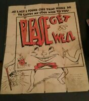 """Greeting Card 1930's """"Get Well"""" Fold Out Puppy Dog 23"""" Tall Antique Vintage"""