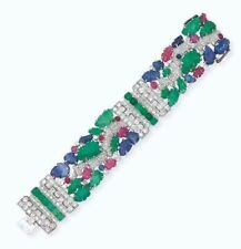 Blue Sapphire 925 Sterling Silver Tutti Frutti Cocktail Bracelet High Jewelry CZ