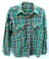 VTG Mens L Cotton Green Brown  Plaid Heavy Woven Camp Shirt Distressed 1960s
