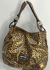 Kathy Van Zeeland Logo Purse Satchel Hand Bag Multi Leopard Cheetah Purse Tote L