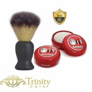BRAND NEW - 100% Real BADGER HAIR SHAVING BRUSH - Arko Soap Bowl + Brush